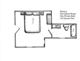 Floorplan of Room 5, 1 queen room, 1 private bath