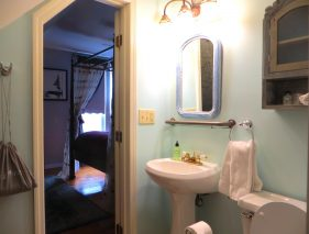 Room 6 bathroom with pedestal sink