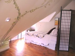 Room 7 single bed with tree murial on slanted wall
