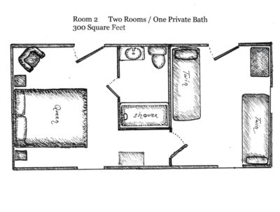 Floorplan of Room 2, 2 rooms, 1 private bath