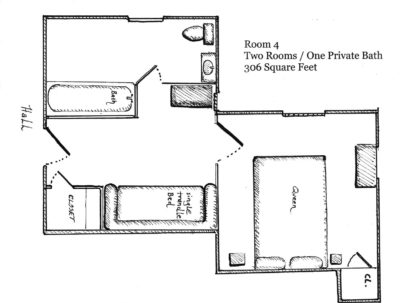 Floorplan of Room 4 with 2 rooms and 1 private bath