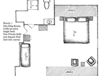 Floorplan of Room 7, 1 king room with extra single bed, 1 private bath