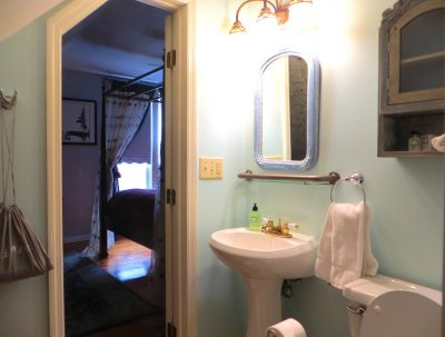 Room 6 bathroom with pedestal sink