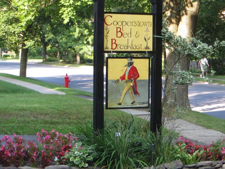 Bed and breakfast sign outside property